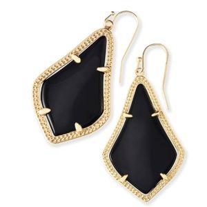 Alex Gold Drop Earrings in Black Opaque Glass